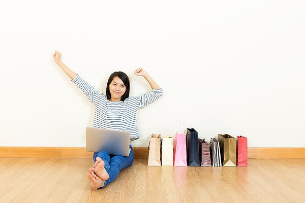 Asia woman shopping online at home